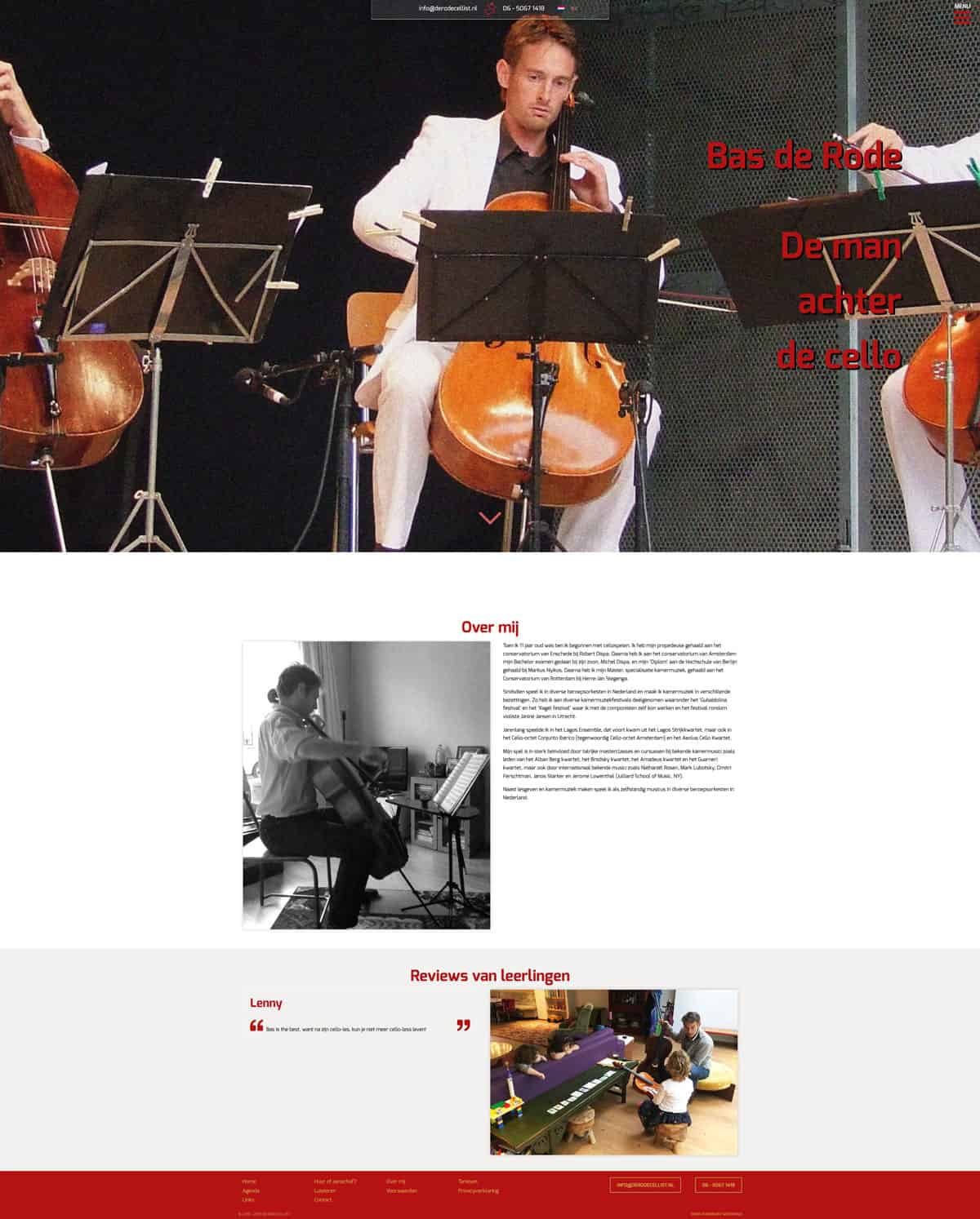 Portfolio Boris Hoekmeijer Website Ontwerp De Rode Cellist About Pagina