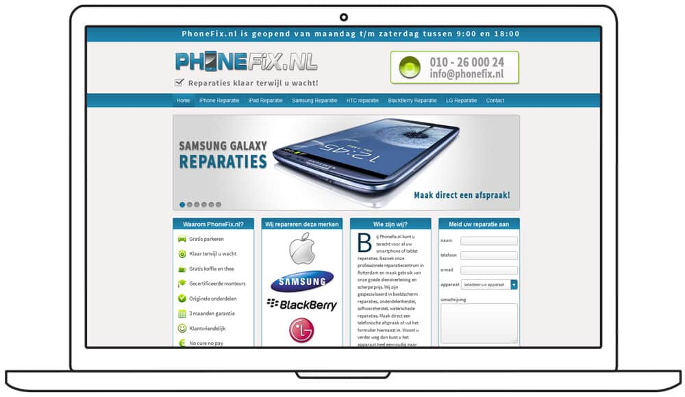 ontwerp phonefix homepage