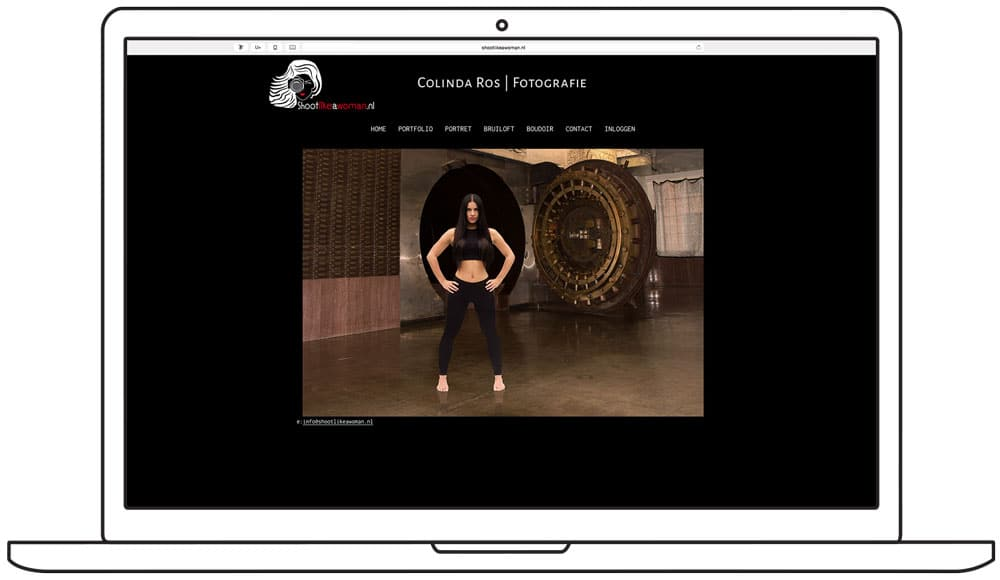 website ontwerp shoot like a woman - homepage