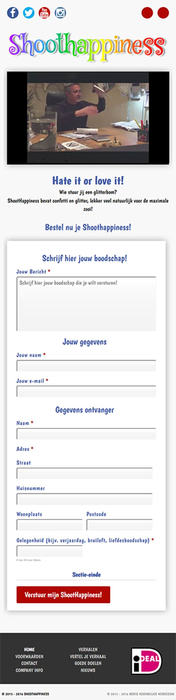 website ontwerp shoothappiness homepage mobile