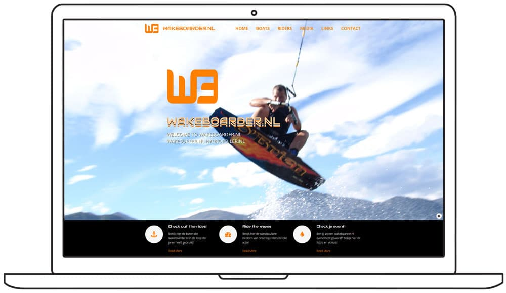 website ontwerp wakeboarder homepage slide