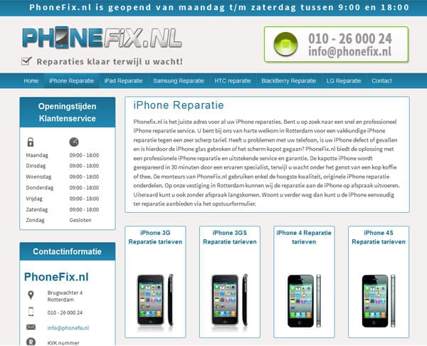 website ontwerp phonefix categorie pagina