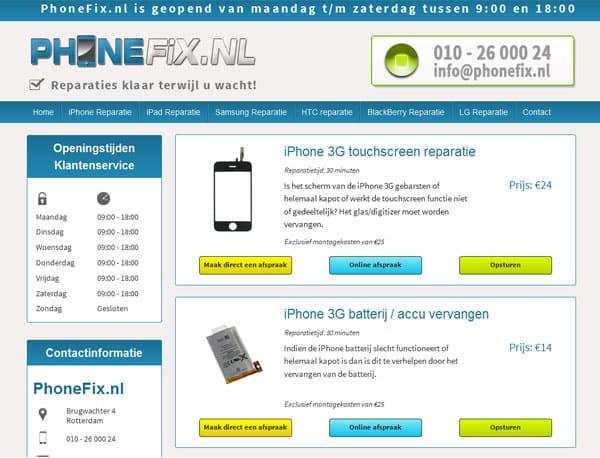 website ontwerp phonefix reparatie pagina